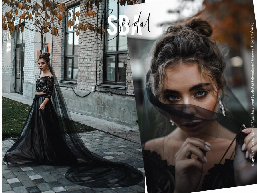 Свадьба - Black Classic Long Cathedral Tulle Veil, Luxury Soft Black Tulle Veil, Boho High Quality Handmade Black Veil 2020, Gothic Black Veil