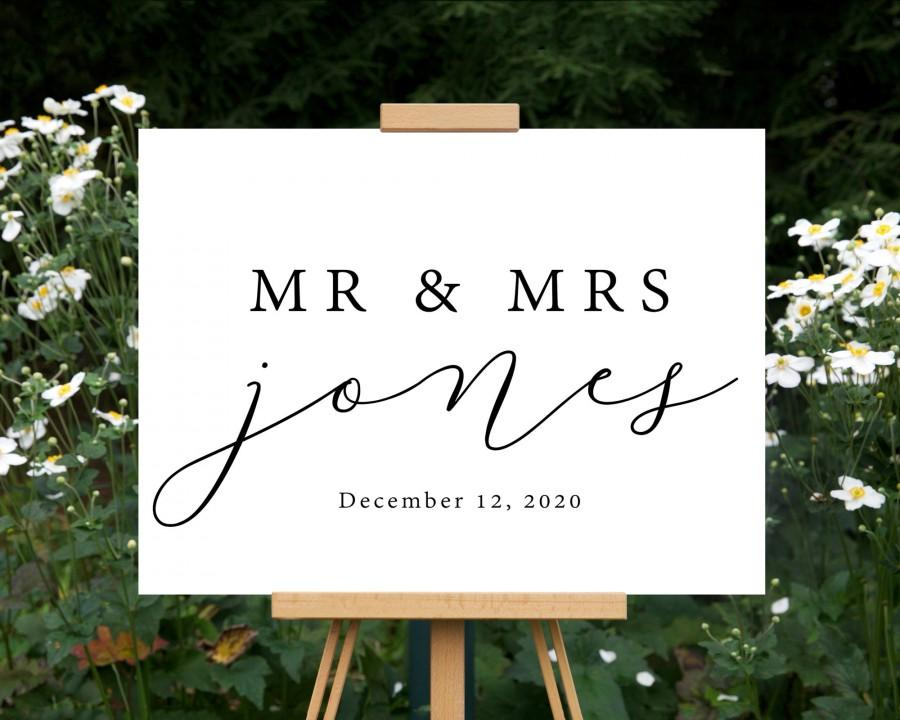 Свадьба - Mr and Mrs Wedding Welcome Sign
