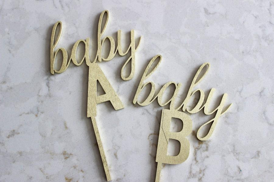 Mariage - Baby A Baby B cake topper / gender reveal cake topper / baby shower cake topper / twin gender reveal  // baby sprinkle // twin baby shower