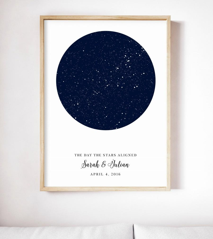 Mariage - Star Map Custom by Date, Personalized Star Print, Night Sky Print, Star Map Poster, Engagement Gift