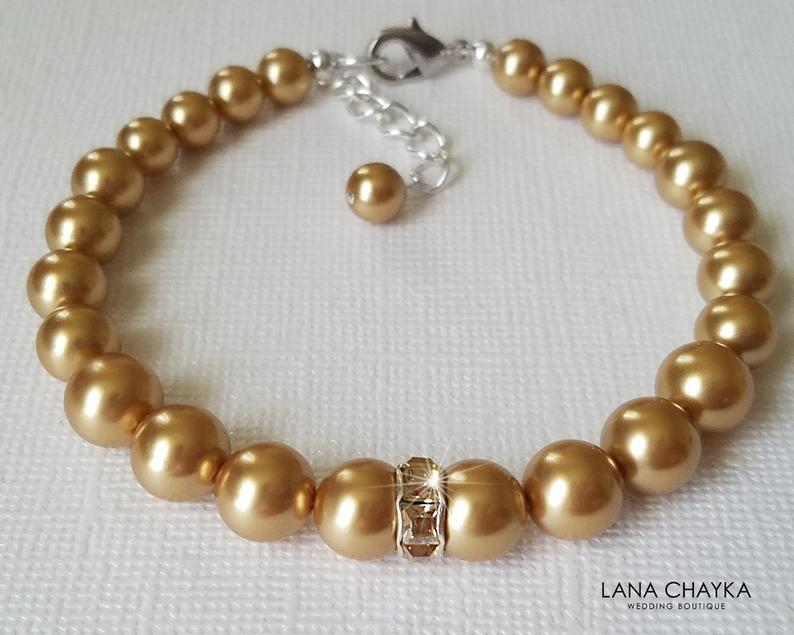 زفاف - Bright Gold Pearl Bracelet, Swarovski Gold Pearl Bridal Bracelet, Wedding One Strand Pearl Bracelet, Bridal Jewelry, Golden Pearl Bracelet