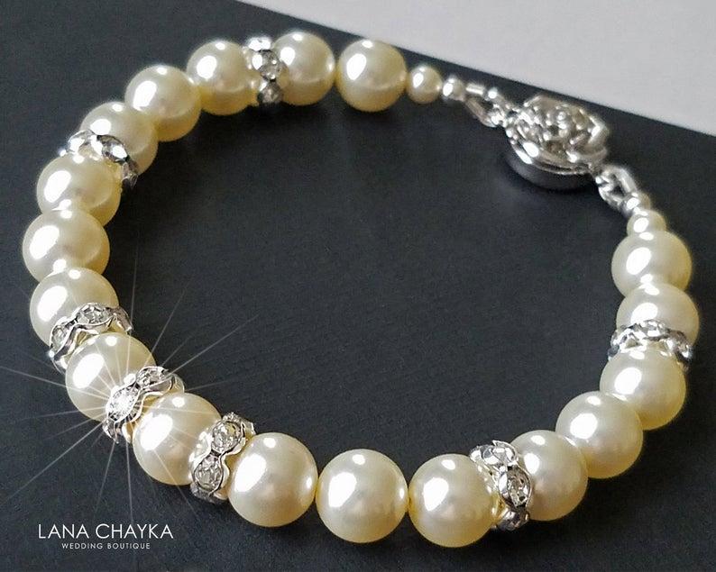 Wedding - Pearl Bridal Bracelet, Swarovski Ivory Pearl Bracelet, Wedding Bracelet, Bridal Jewelry, Pearl Wedding Jewelry Ivory Silver Classic Bracelet