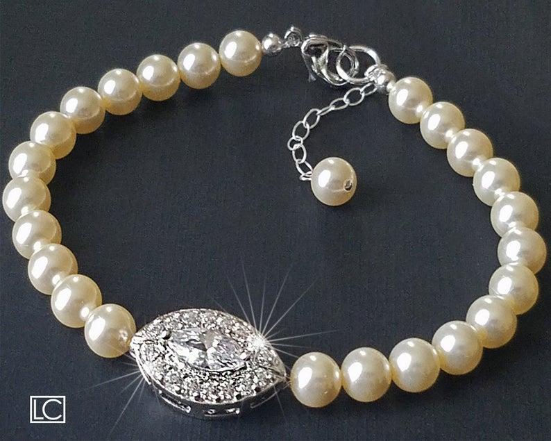 Wedding - Pearl Bridal Bracelet, Swarovski Ivory Pearl Bracelet, Wedding Bridal Bracelet, Bridal Jewelry, Ivory Pearl CZ Bracelet, Bridal Party Gift