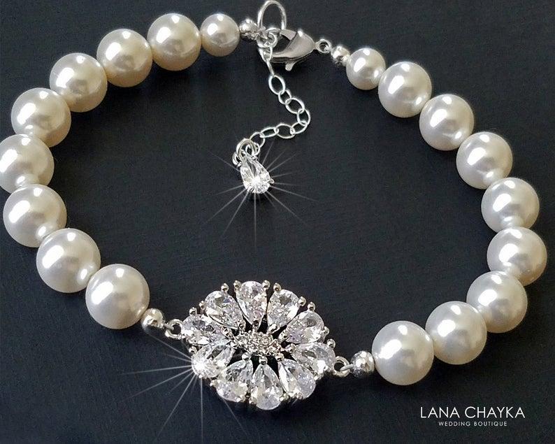 زفاف - Pearl Bridal Bracelet, Swarovski White Pearl Cubic Zirconia Bracelet, Wedding Bracelet, Bridal Jewelry, Vintage Style, Bridal Party Gift