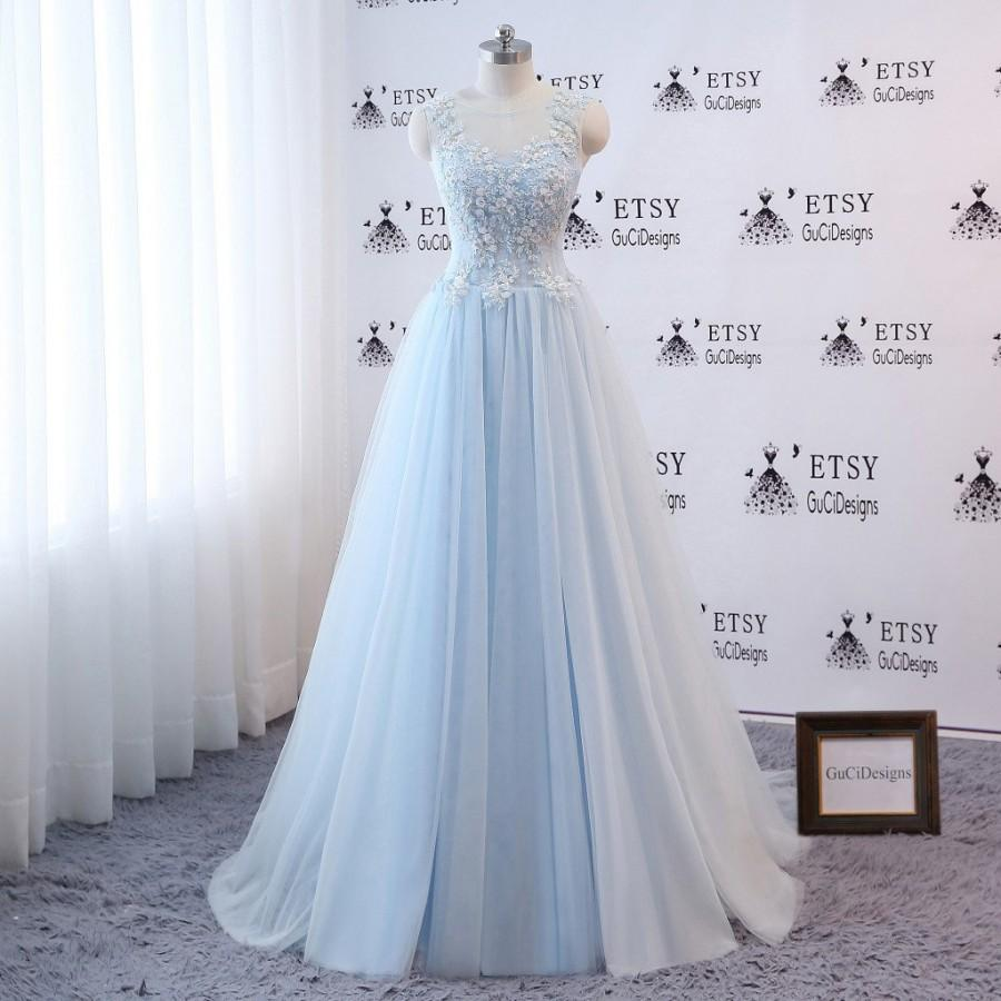 Wedding - Elegant Prom Dress Blue Ball Gown Aline Sleeveless Women Formal Evening Dress Floral Lace Flower Bridal Gown Wedding Dress Vintage Bohemian