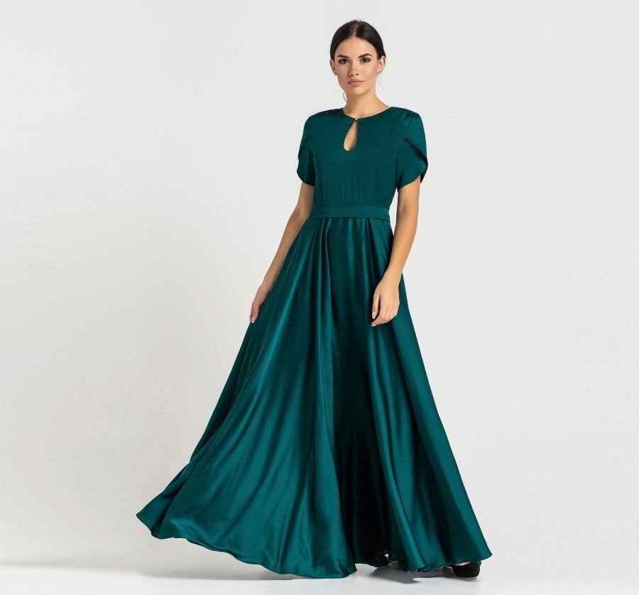 Mariage - Prom Bridesmaid Cocktail Dresses for women, Infinity Green wedding guest dress, Long Keyhole Maxi Skater Party Dress TAVROVSKA