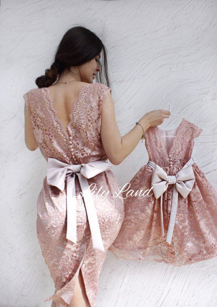 Wedding - Guipure lace matching dresses, mother and daughter matching, birthday party, family photo dresses, midi women dress, v neck women dress