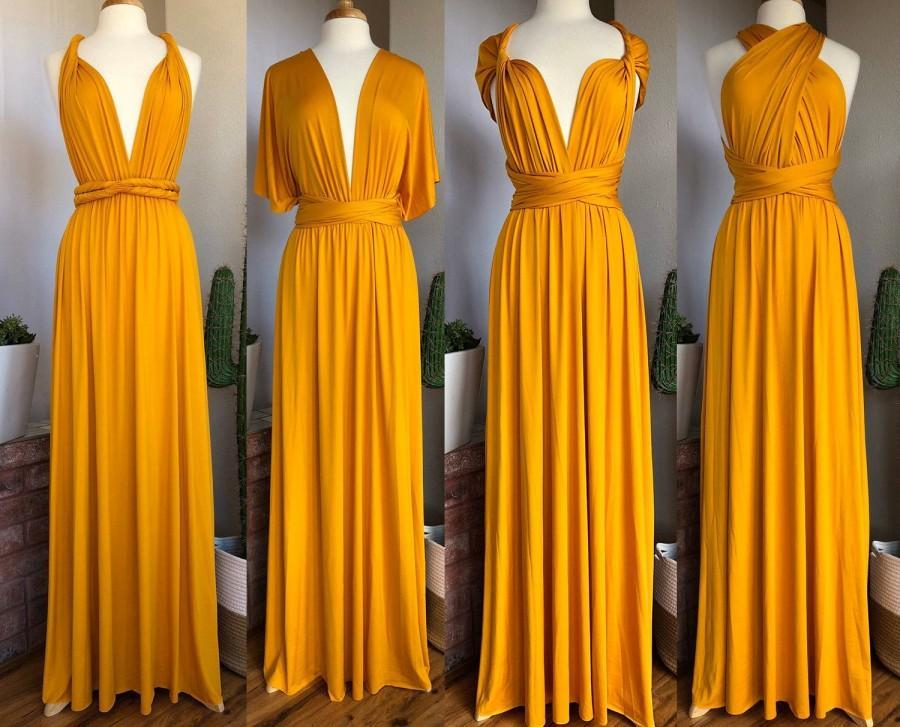 Hochzeit - MUSTARD Bridesmaid Dress/ CUSTOM LENGTHS/ Convertible Dress /  Infinity Dress/ Multiway Dress/  Multi Wrap Dress /  Plus Size / Petite /