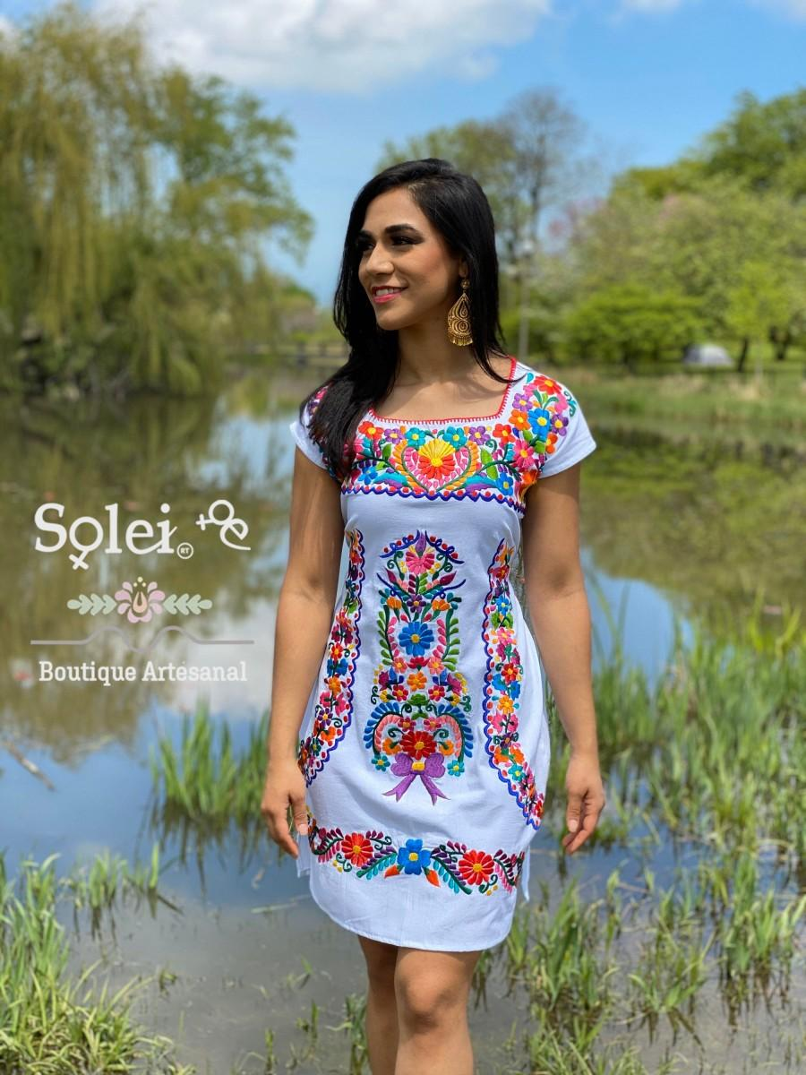 Hochzeit - Mexican Colorful Embroidered Dress. Beautiful Traditional Dress. Handmade Mexican Dress. Coco Dress. Women's Mexican Formal Dress.