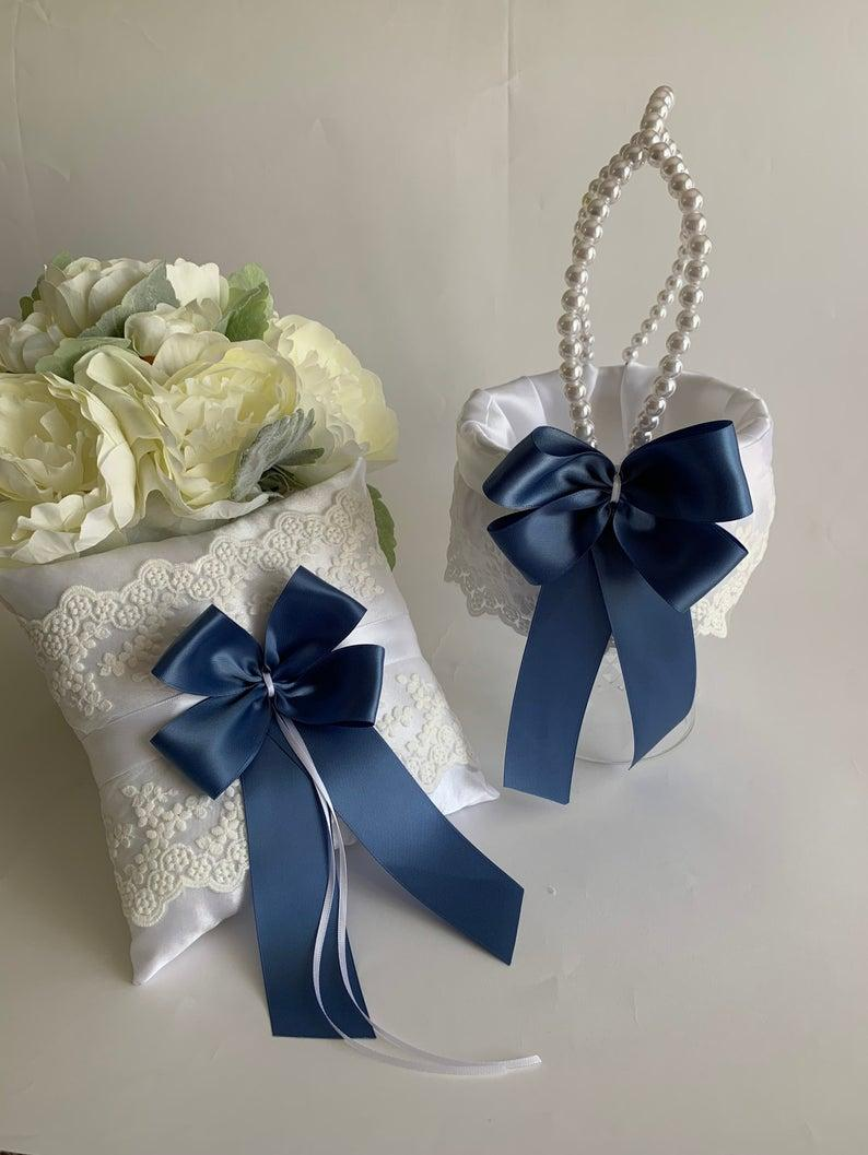Hochzeit - Steel blue flower girl basket, steel blue ring bearer pillow, wedding flower girl basket, wedding ring pillow, CUSTOM COLORS
