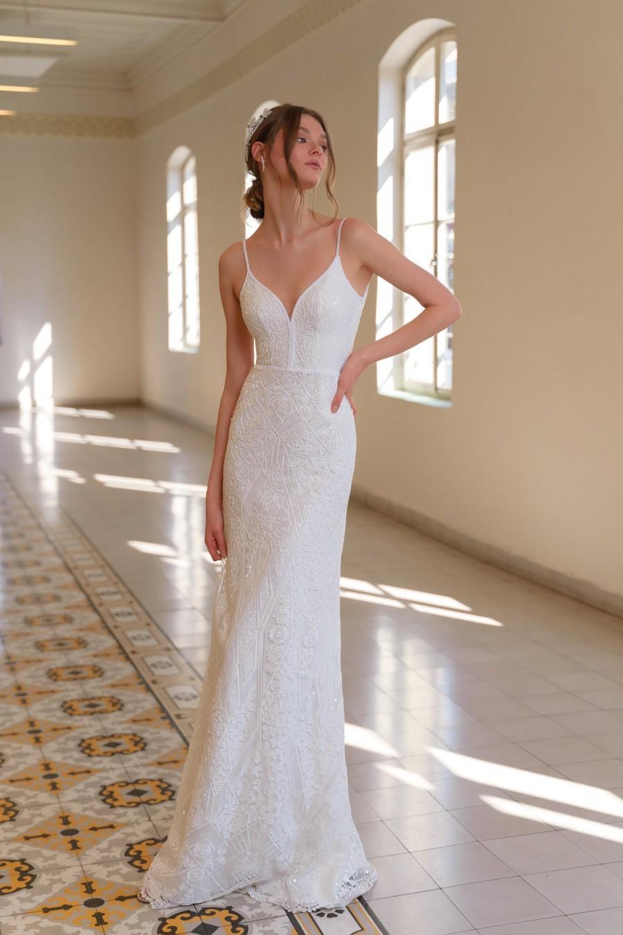 Hochzeit - White Bride Dress, Bohemian Wedding Dress, V Neck Bride Dress, Wedding Gown, Unique Wedding Dress, Bridal Dress, Beaded Lace Wedding Dress