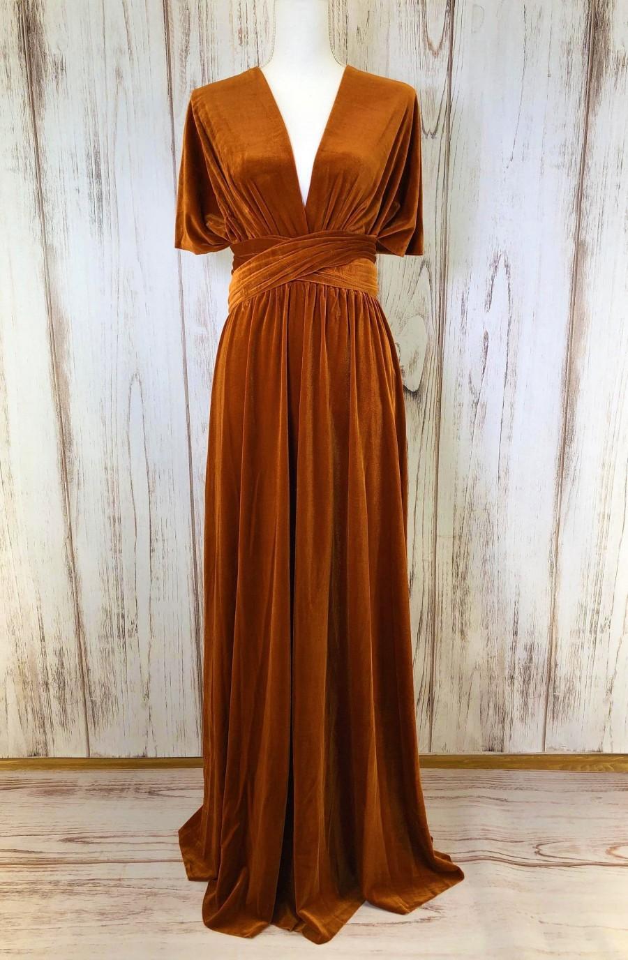 Hochzeit - BURNT ORANGE VELVET Infinity Dress/ Bridesmaids Dress/ Convertible Dress / Multiway Dress/ Multiway Wrap Dress / Velvet Bridesmaids Dress