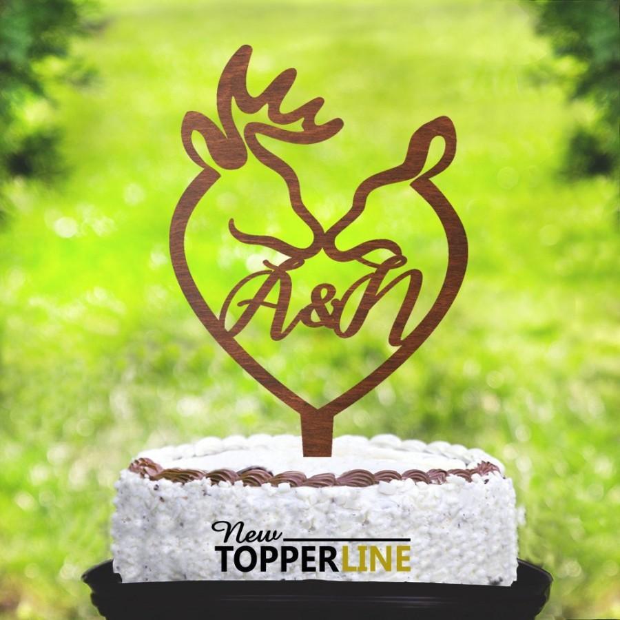 Hochzeit - Buck and doe Cake Topper,Kiss deer Cake Topper,Buck and doe Wedding,Country Cake Topper,Western Cake Topper,Deer Wedding Cake Topper 2243