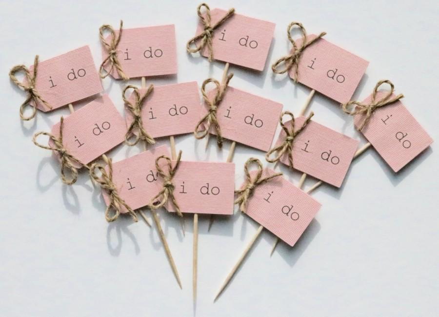 Hochzeit - 12 i do cupcake toppers, rustic i do cupcake picks, blush pink i do cupcake toppers, blush pink i do cupcake picks, blush pink cupcake picks