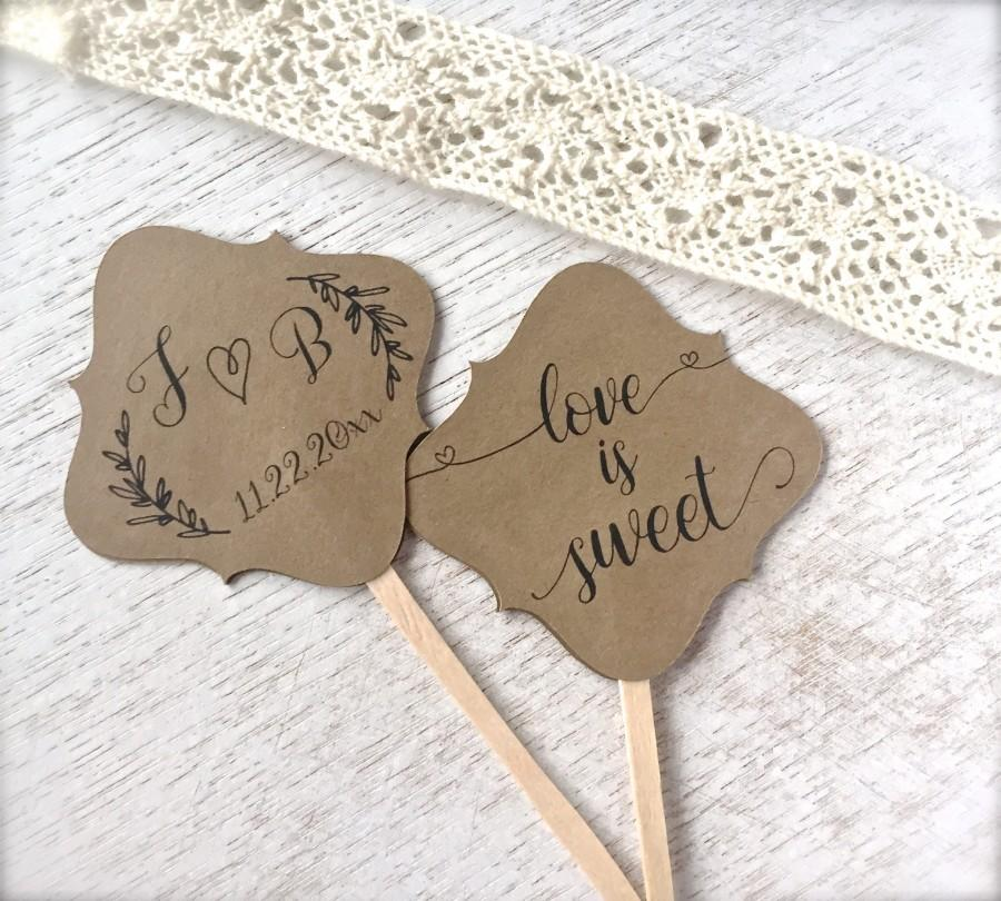 Hochzeit - Wedding cupcake toppers, double sided cupcake picks, engagement party, love is sweet, bridal shower cupcakes, rustic decor - set of 10