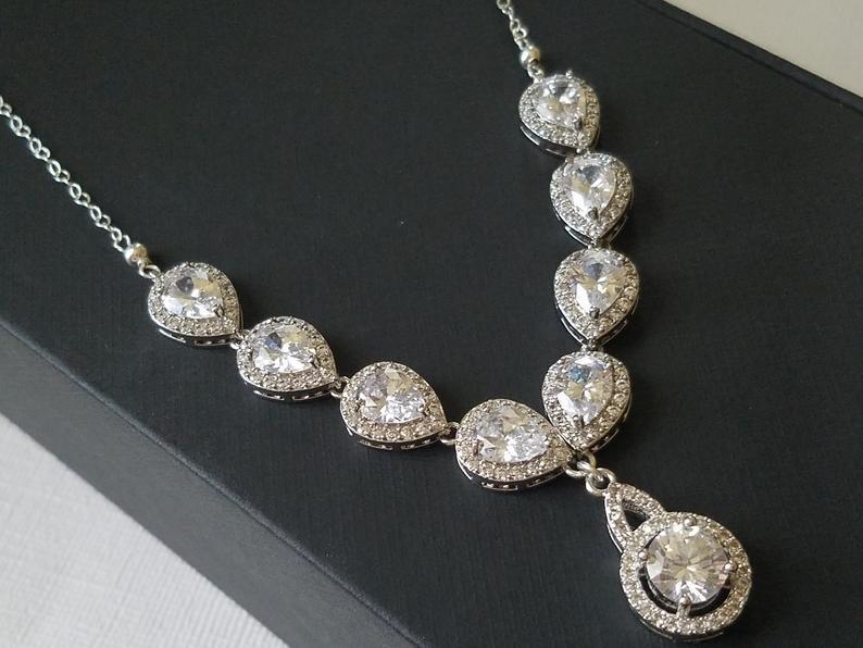 Mariage - Bridal Necklace, Crystal Wedding Necklace, Bridal Cubic Zirconia Necklace, Silver Crystal Necklace, Wedding Jewelry, Vintage Style Necklace