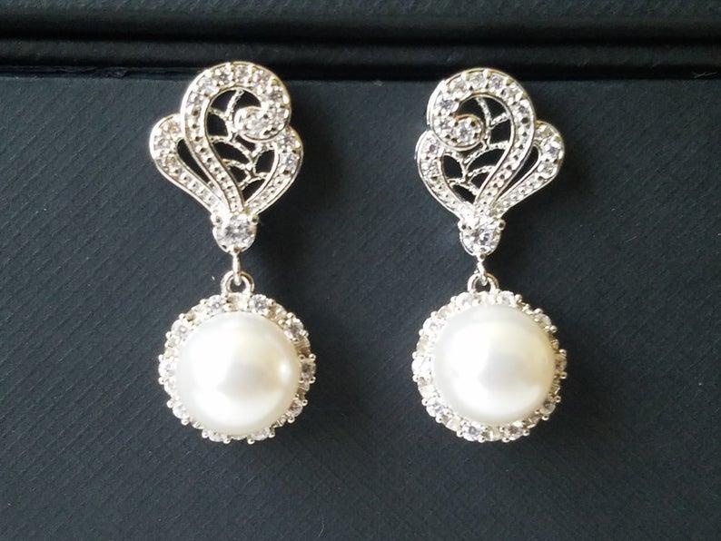 Mariage - Pearl Bridal Earrings, Swarovski White Pearl Silver Earrings, Wedding Pearl Halo Earrings, Wedding Pearl Jewelry, Vintage Style Earrings