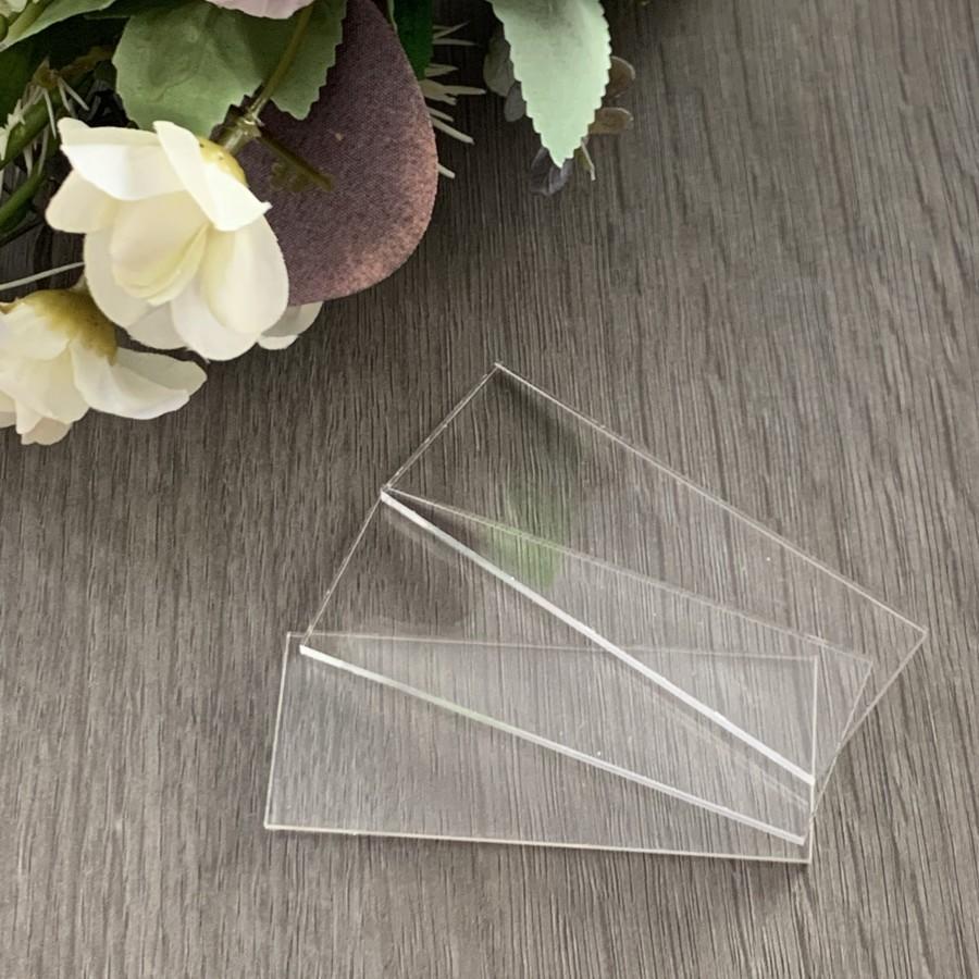 Hochzeit - Clear Acrylic Rectangle Blank Place Cards, Rectangle Plain Tiles, Plain Place Names