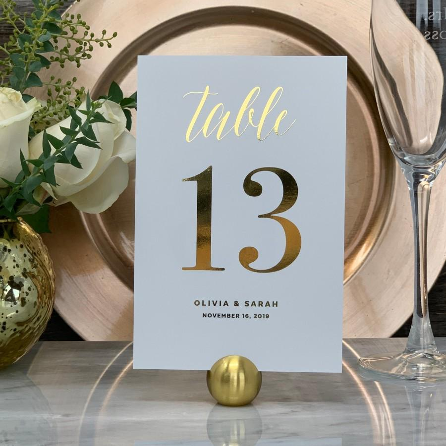 Mariage - Wedding Table Number, Gold Table Numbers, Elegant Wedding Table Numbers, Personalized Gold Foil Table Numbers, Single Sided or Double Sided