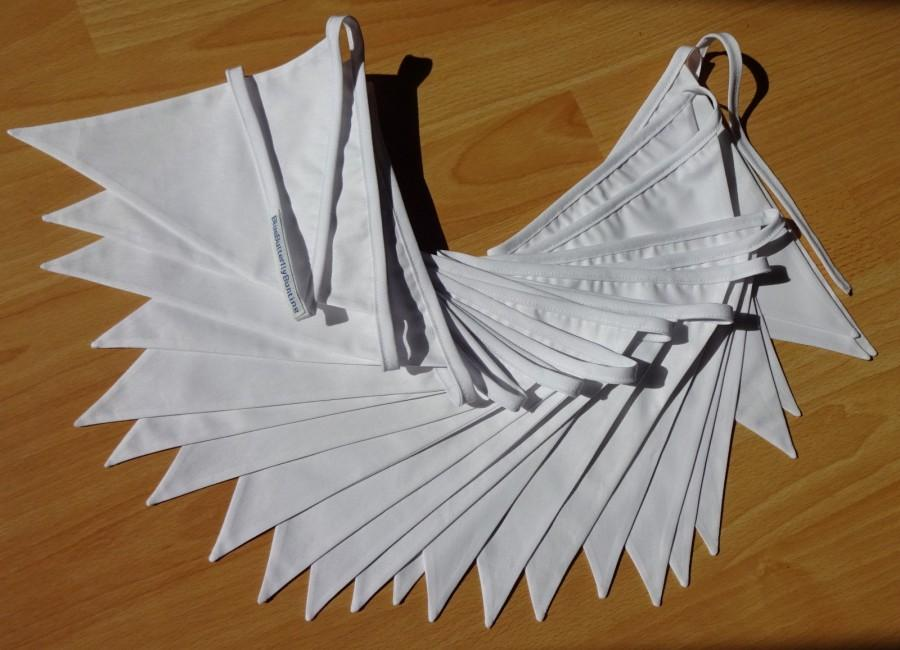Свадьба - White bunting, 3.50 meters white double or single  bunting, White wedding decoration, Fabric bunting, flags, Home decor, Garden party decor
