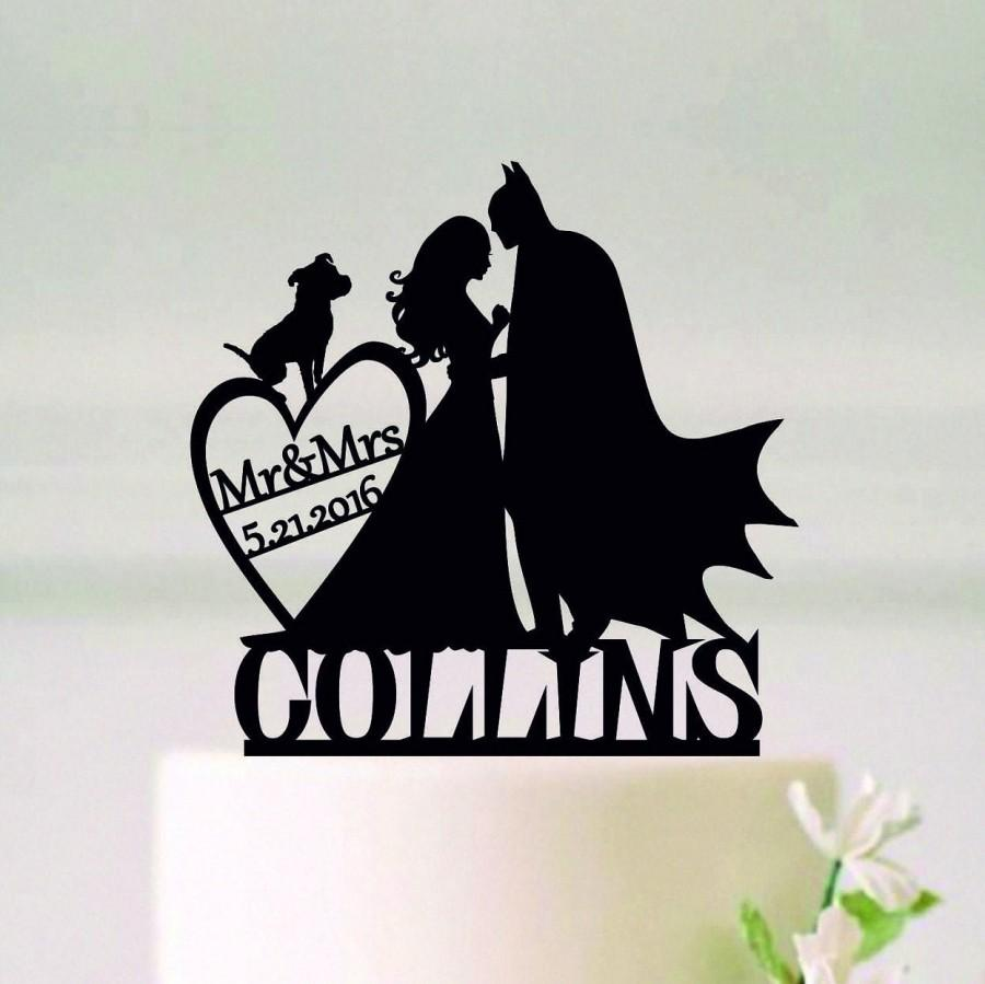 Hochzeit - Batman Cake Topper with pet, Batman Wedding Cake Topper, Batman Silhouette for Cake, Mr and Mrs Topper, Superhero Topper, Topper with date