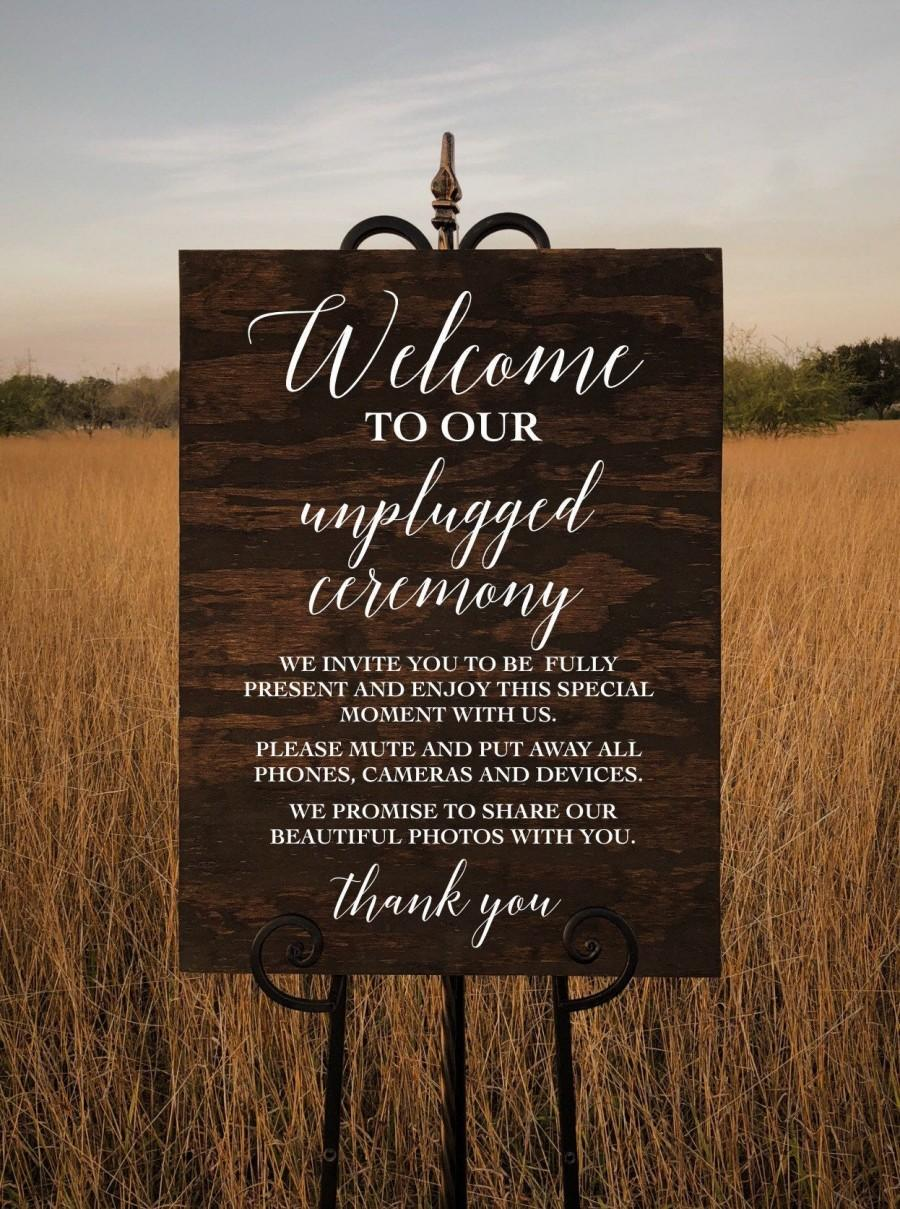 Hochzeit - Unplugged Ceremony Custom Wood Sign Personalized for Weddings Receptions And Events Handmade Welcome Sign
