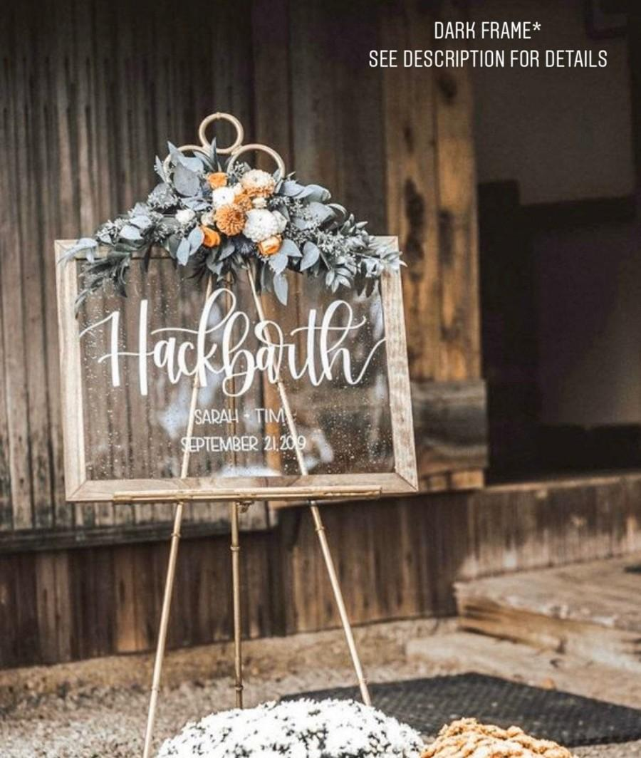 Hochzeit - Acrylic Last Name Wedding Sign, Wedding Welcome Sign, Wooded Frame, Clear Wedding Sign, Personalized Wedding Sign