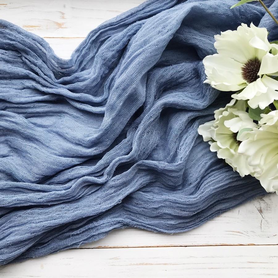 Свадьба - Steel blue gauze table runner Silver blue cheesecloth runner Gray blue wedding  gauze
