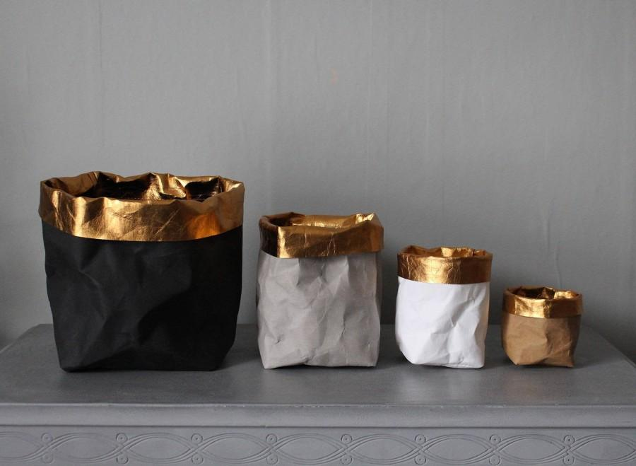 Свадьба - Washable paper bags with gold trim, stylish storage, home decor, desk organizer, eco chic, luxury, glamour, wedding decor