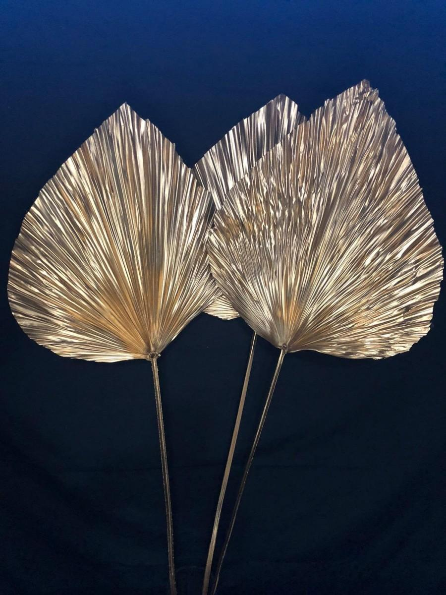 Hochzeit - 1pc/3pc XLarge GOLD Anahaw Stem 4ft tall Fan Leaf/GOLD Dried Saribus rotundifolius/Palm Leaf Spear/Boho Decor/Dried floralGold plated