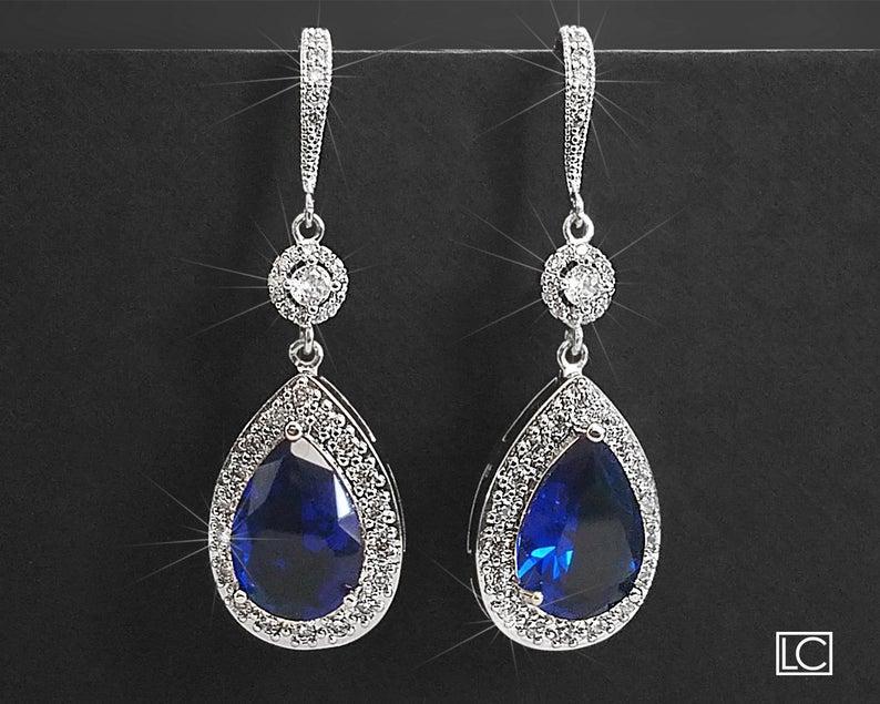 Свадьба - Navy Blue Crystal Earrings, Sapphire Blue Cubic Zirconia Earrings, Blue Silver Teardrop Earrings, Blue Chandelier Dangle Wedding Earrings