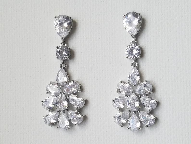 Wedding - Bridal Cubic Zirconia Earrings, Chandelier Crystal Wedding Earrings, Clear CZ Dangle Earrings, Sparkly Silver Earring, Statement Earrings