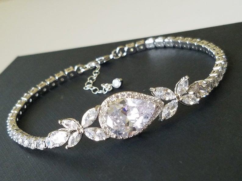 Wedding - Bridal Crystal Bracelet, Wedding Cubic Zirconia Bracelet, Silver Cubic Zirconia Pear Bracelet, Bridal Jewelry, Wedding Sparkly Bracelet
