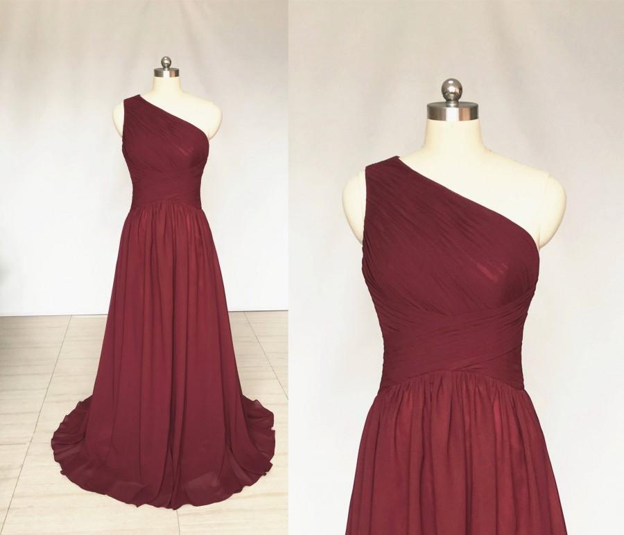Hochzeit - A-line One-Shoulder Burgundy Chiffon Long Bridesmaid Dress