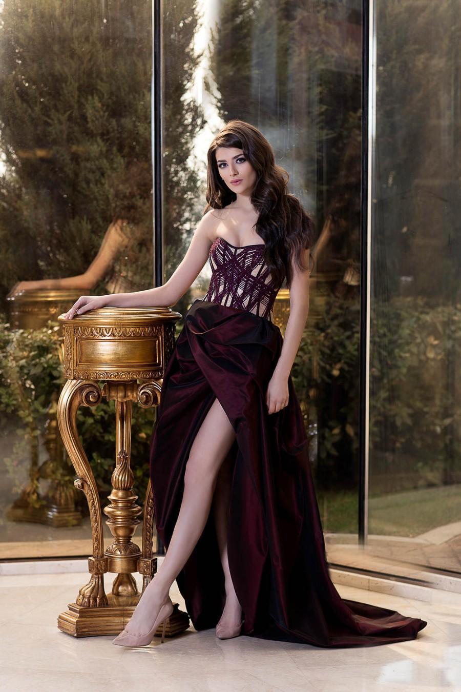 Wedding - Long Bridesmaid dress in Marsala color / Formal beaded dress Elegant taffeta dress Couture Sleeveless dress Prom Ball gown Evening dress