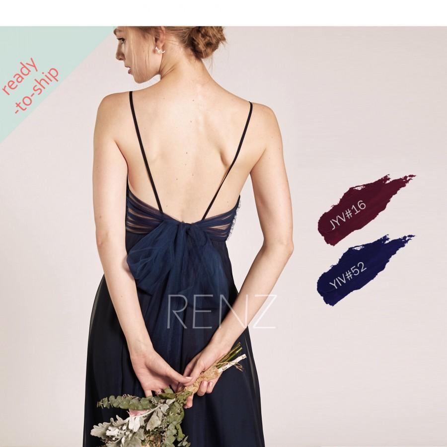 Mariage - Bridesmaid Dress Chiffon Wedding Dress Ruched V Neck Prom Dress Long Sash Navy /Burgundy Formal Dress A-line Party Dress In Stock Dress-H547