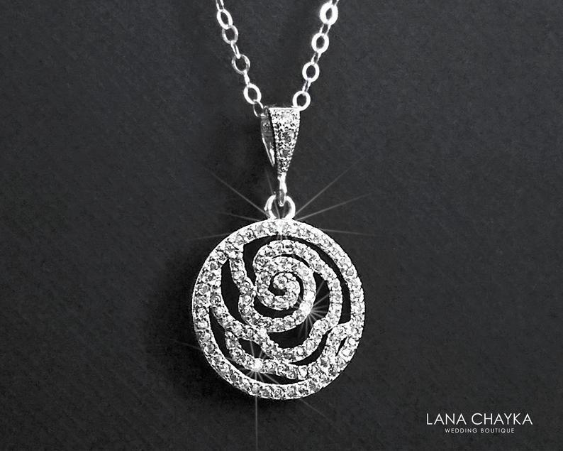 Свадьба - Camellia Cubic Zirconia Bridal Necklace, Floral Silver Necklace, Wedding Jewelry, Bridal Jewelry, Cubic Zirconia Pendant, Prom Necklace