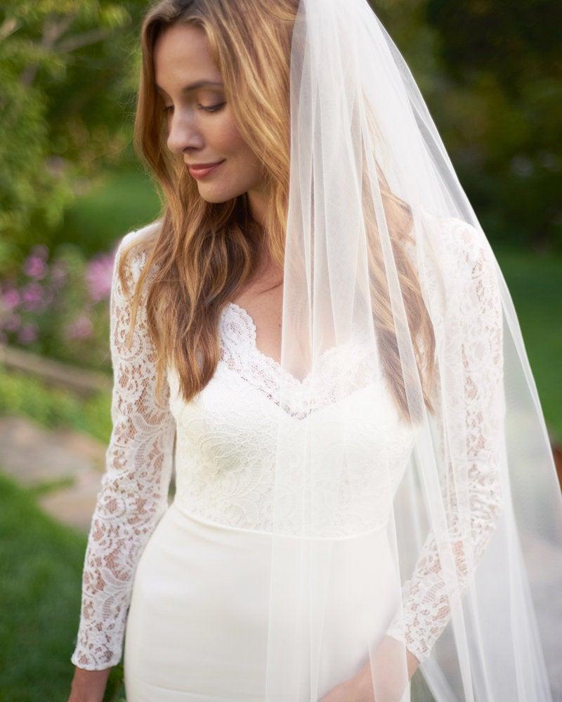 زفاف - Cathedral Bridal Veil, Cut Edge Cathedral Veil, Simple Chapel Wedding Veil, Veil for Bride, Wedding Veil, Ivory Veil, Veil for Wedding, 5090