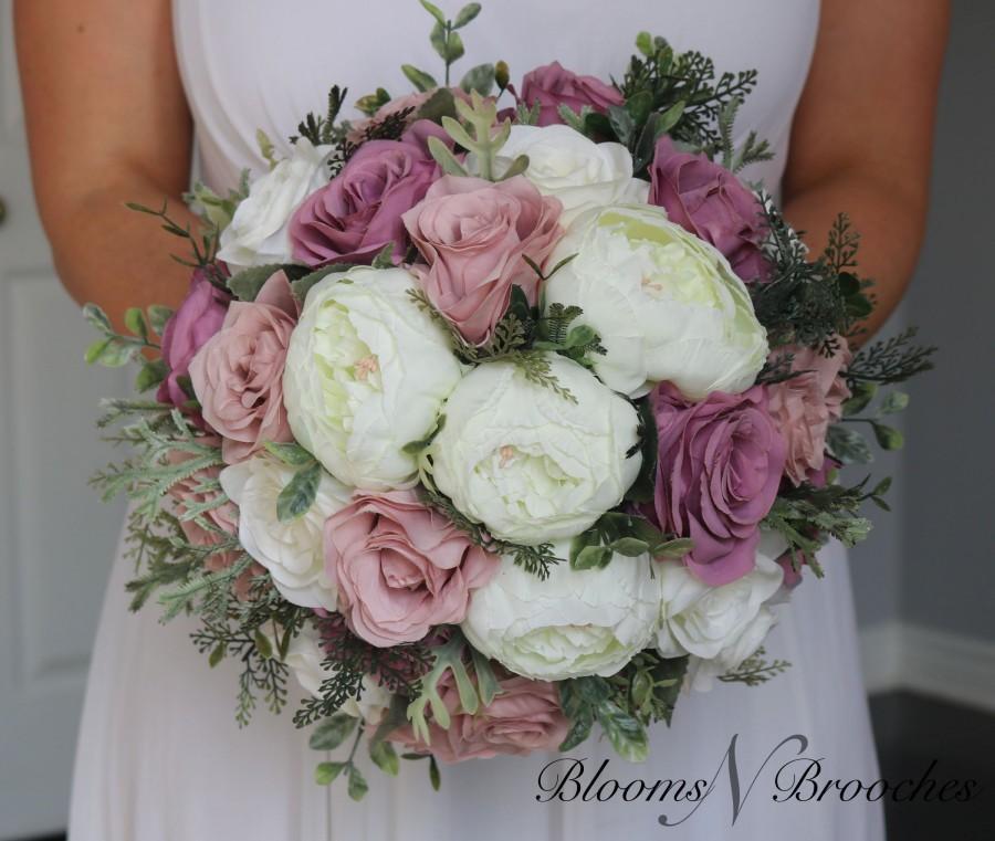 زفاف - Dusty Rose, mauve  and  Ivory Wedding Bouquet, Quartz Wedding Flowers, Bridesmaid Bouquets, Corsage, bridal Flower Package