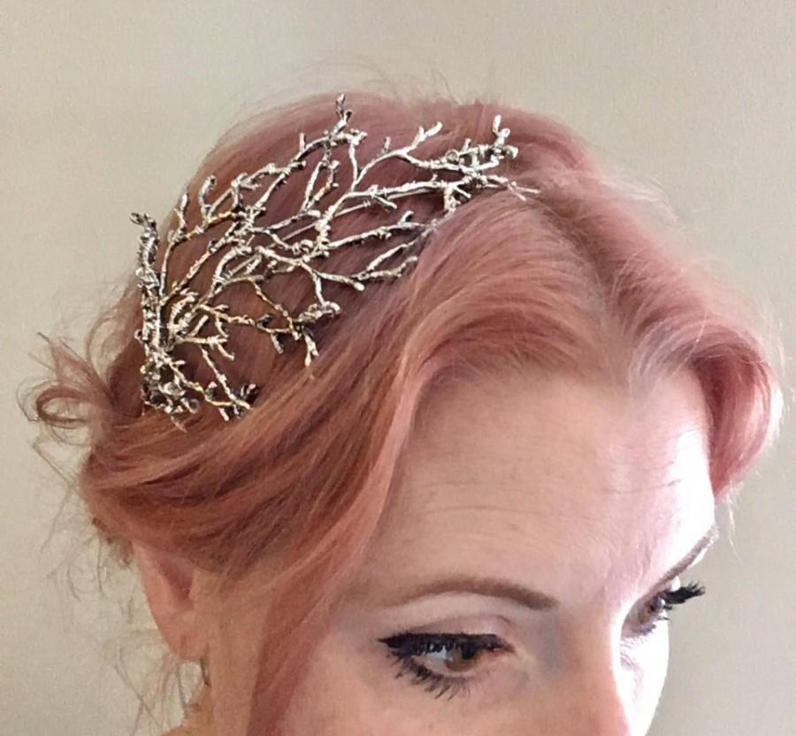Hochzeit - The BETTY Headpiece - Branch Twig Antler Woodland Ethereal Natural Crown Headband Fascinator