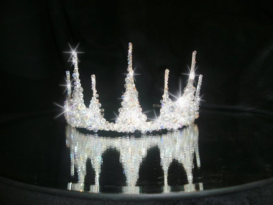 زفاف - Crystal tiara crown,  Couture inspired, modern crystal tiara,  Ab crystal beads