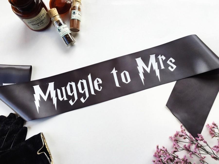 Свадьба - Harry Potter Sash - mischief managed Wedding - Muggle to Mrs sash - Bachelorette Sash - Bachelorette Party Accessory - Deathly Hallows sash