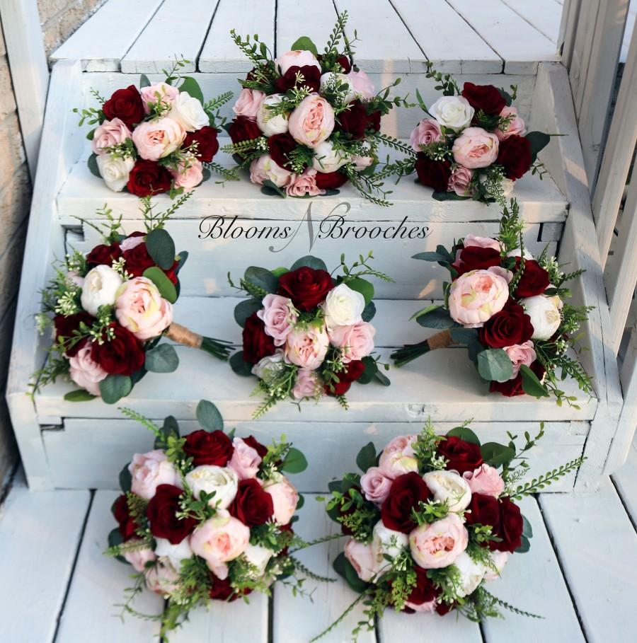 Wedding - Wine Blush and Ivory Boho Wedding Bouquets, Bridal Bouquet, Bridesmaids bouquet, Artificial Wedding Flowers, Boho Wedding, Burgundy Flowers,
