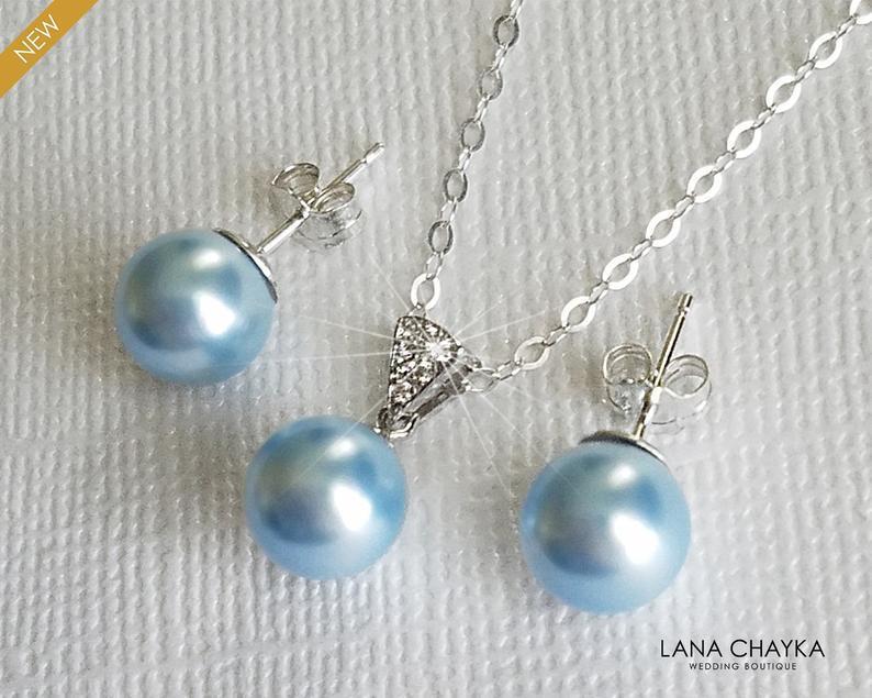 زفاف - Light Blue Pearl Sterling Silver Jewelry Set, Swarovski 8mm Pearl Earrings&Necklace Set, Blue Pearl Wedding Jewelry Set, Light Blue Jewelry