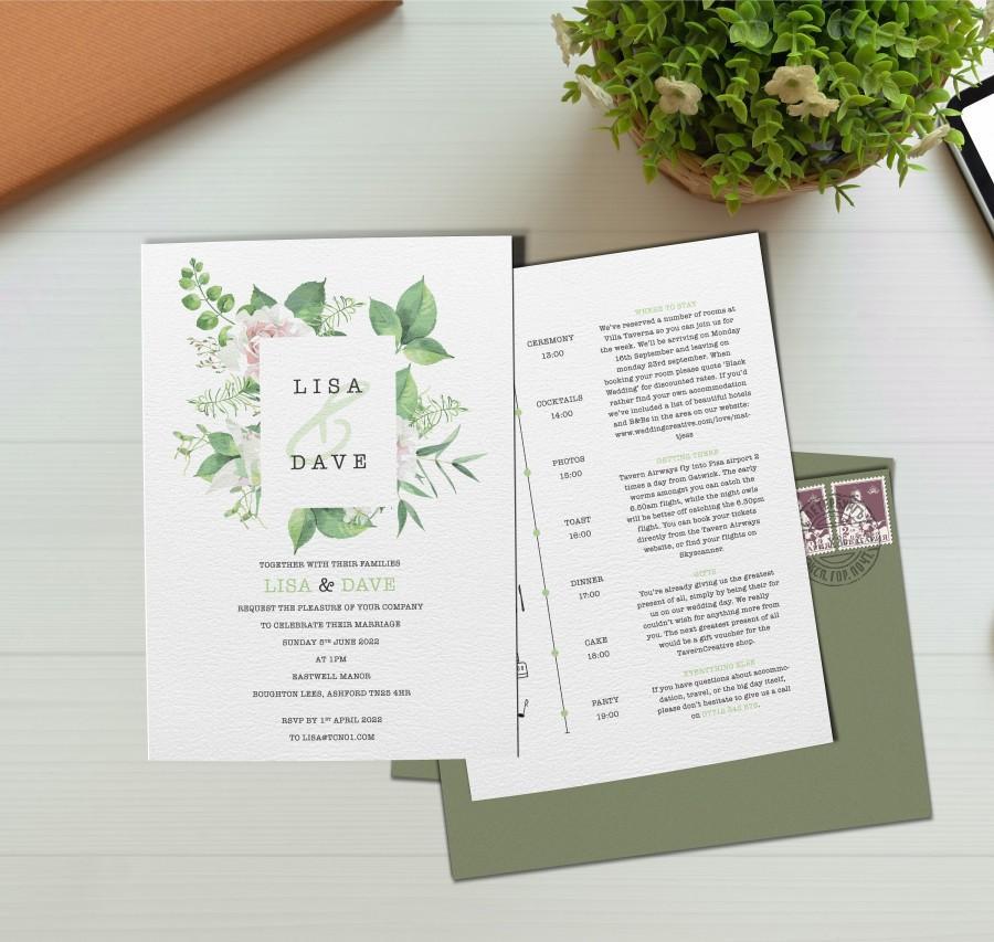 Hochzeit - Greenery Wedding Invites, Floral Wedding Invitation, Wedding Invitations Blush, Wedding Invite With Menu, Timeline, Details, Inserts, RSVP