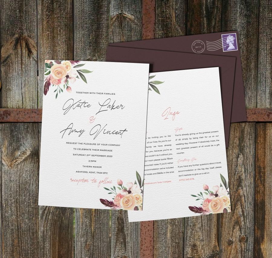 Hochzeit - Rustic Wedding Invitation, Floral Wedding Invites, Wedding Invite Sample, Wedding Invitations Set, Evening, Menu, Envelopes, Inserts, RSVP
