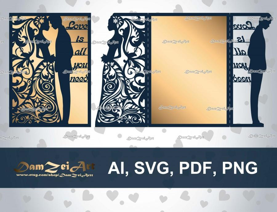 """Hochzeit - laser Cut Template 5x7'' """"Love is all you need"""" Wedding Invitation Card (ai, svg, pdf, png) vector file pattern, ornamental panels Download"""