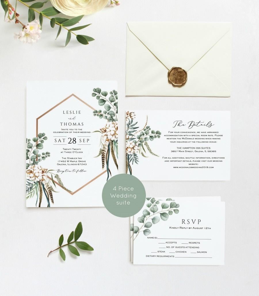 Wedding - Boho Wedding Invitation Suite, Wedding Invitation, Printable Wedding Invitation, Instant Download, Edit with TEMPLETT, WLP-BOH 1349