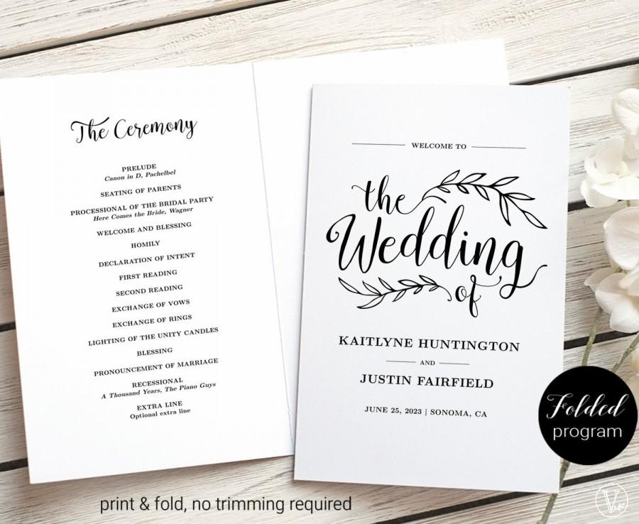 زفاف - Wedding Program Template, Folded Wedding Program, Printable Wedding Program, Rustic, Vintage Wedding, VW01