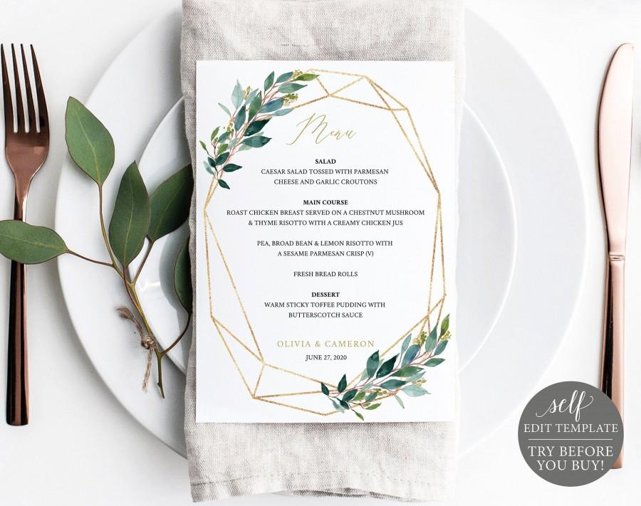 Hochzeit - TRY BEFORE You BUY! Wedding Menu Template 5x7, Instant Download, 100% Editable Menu Printable